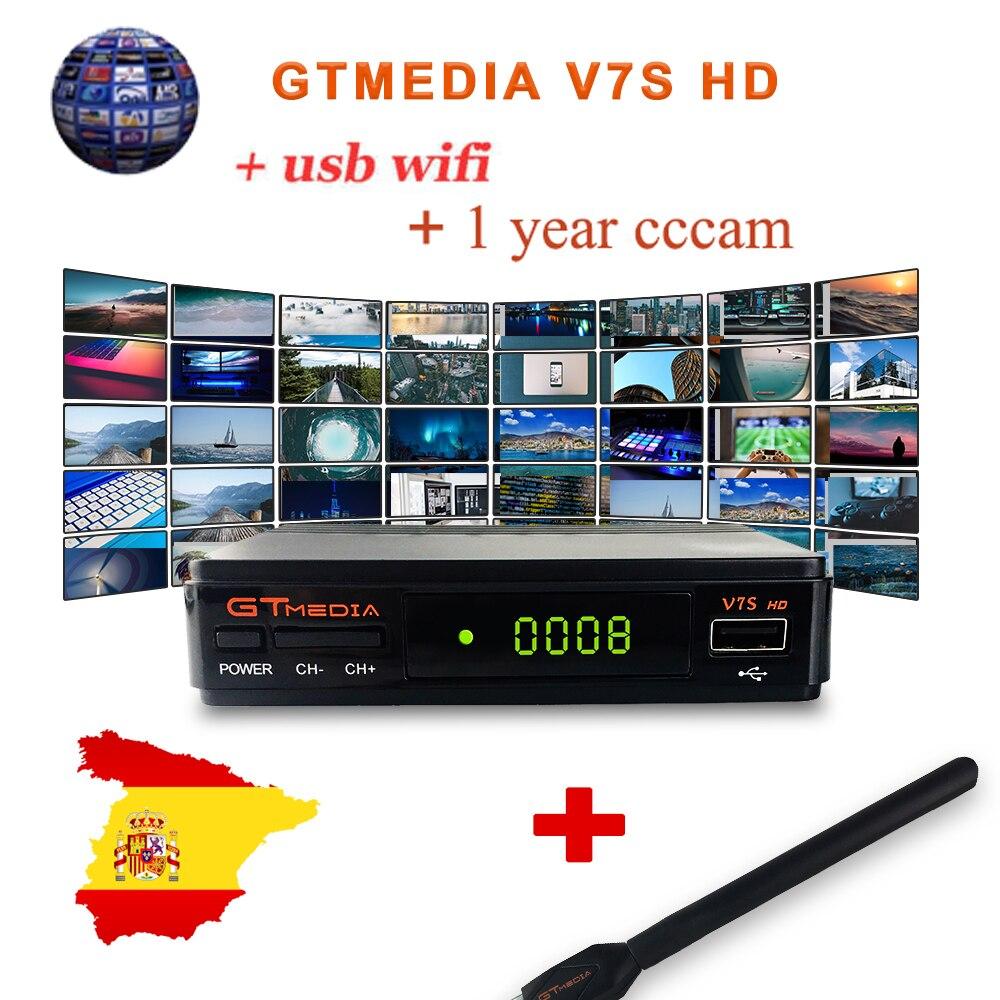 GTMEDIA V7S HD DVB-S2 1080P récepteur de télévision par Satellite numérique + USB WIFI avec un an 5 lignes espagne Europe Cline CCcam compte TV Box