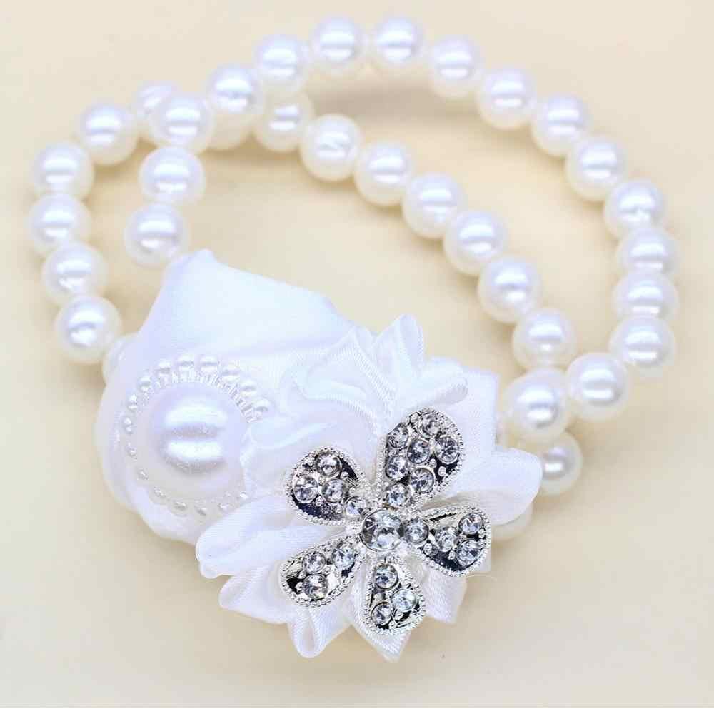 WifeLai-ホワイトローズウェディング手の手首の花嫁ブライド手首コサージュシルクリボン花嫁のコサージュの手の装飾 SW323