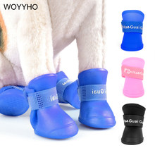 4pcs/Set Waterproof Pet Dog Shoes Blue/Black/Pink Rubber Rain Boots Shoes For Small Dogs Cat S/M/L(China)