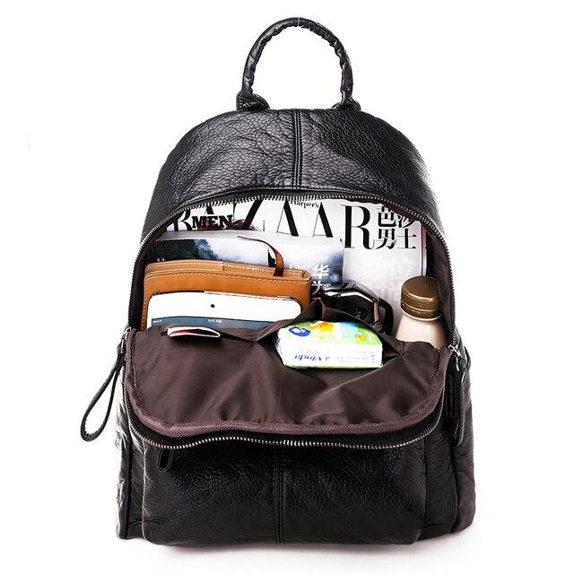 السيدات على ظهره 2020 جديد سعة كبيرة لينة بولي Leather جلد الشباب طالب حقيبة مدرسية موضة حقيبة السفر الأسود الرئيسي 6