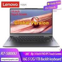 Lenovo-laptop, yoga 14c 2021, r7, 5800u, 16gb, 512gb, 1tb, 360 °, flip 14 °, touch screen, computador, ultrabook, versão global