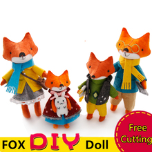 2PCS/SET Lovely Fox Families Felt Animal Handmade Sewing Cloth Craft Toys DIY Crafts For Kids Gifts Supplies Keychain