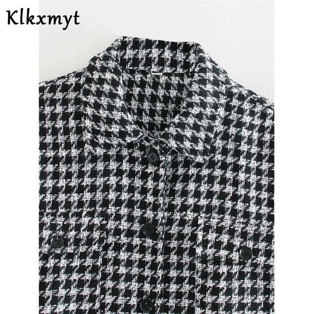 Klkxmyt-veste en Tweed pied-de-poule pour femme, manteau en Tweed à la mode, Vintage, manches longues, poches, hauts chics, 2020 4