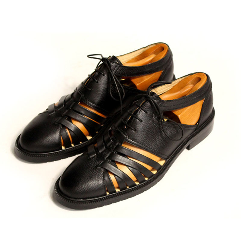 Italy Retro Mens Sandals Runway Hollow Out Lace Up Genuine Leather Mens Shoes Round Toe Block Heels Gladiator Plus Size Footwear