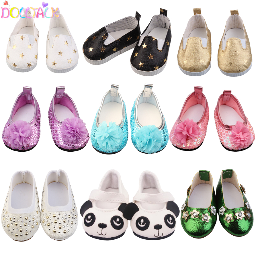 15 Clolors 7cm Sequins Doll Shoes Cute Flower Star Panda Shoes For 18inch American Doll,1/3 BJD 43cm Baby Girl Dolls Toy Gift(China)