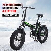 Bicicleta elétrica 500w4.0 pneu gordo bicicleta elétrica praia cruiser bicicleta impulsionador dobrável 48v 15ah bateria de lítio ebike|Bicicleta elétrica| |  -