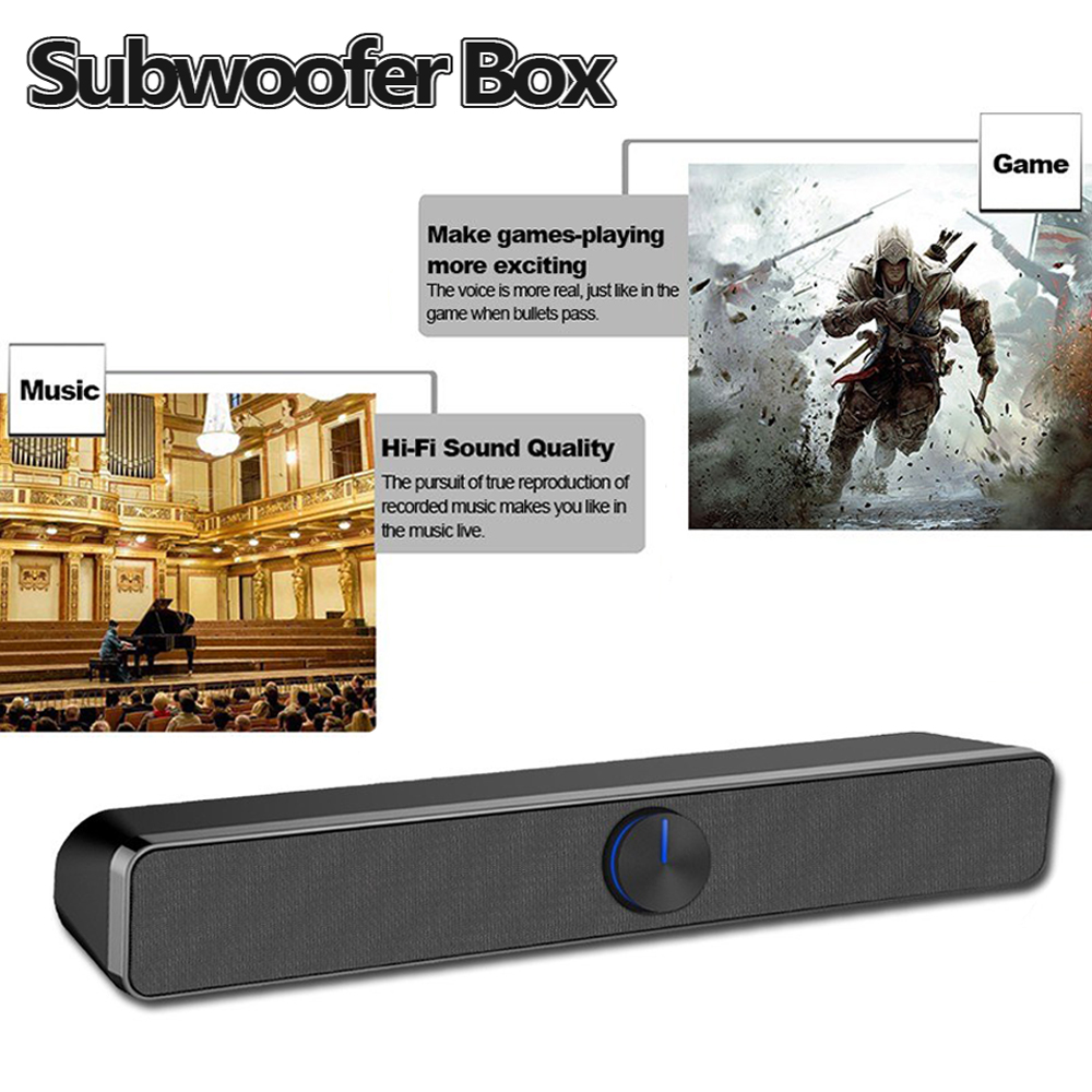 USB Wired Computer Speaker SoundBar Stereo Subwoofer Powerful Music Player Box 3.5mm Audio Input for PC Laptop Smartphone TV
