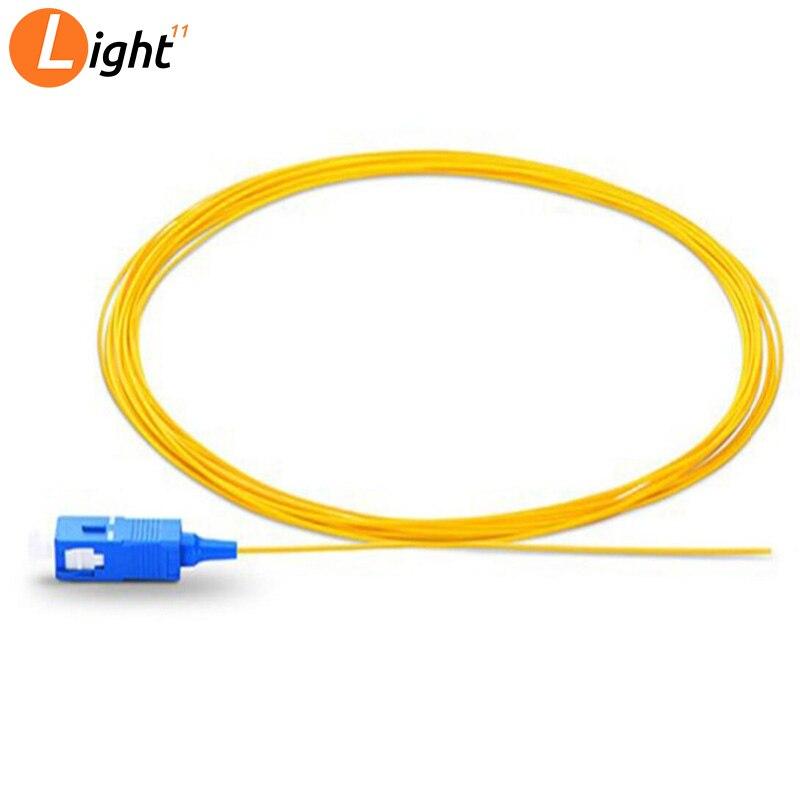 50pcs/lot 1M/1.5M/2MSinglemode Simplex PVC 0.9mm SC/UPC Fiber Optic Pigtail SC/UPC Pigtail