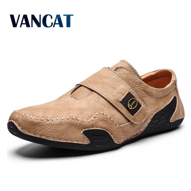 Brand Comfortable Casual Shoes Leather Men Loafers Waterproof Split Leather Men Shoes Flats Moccasins Shoes Plus Size 39-46