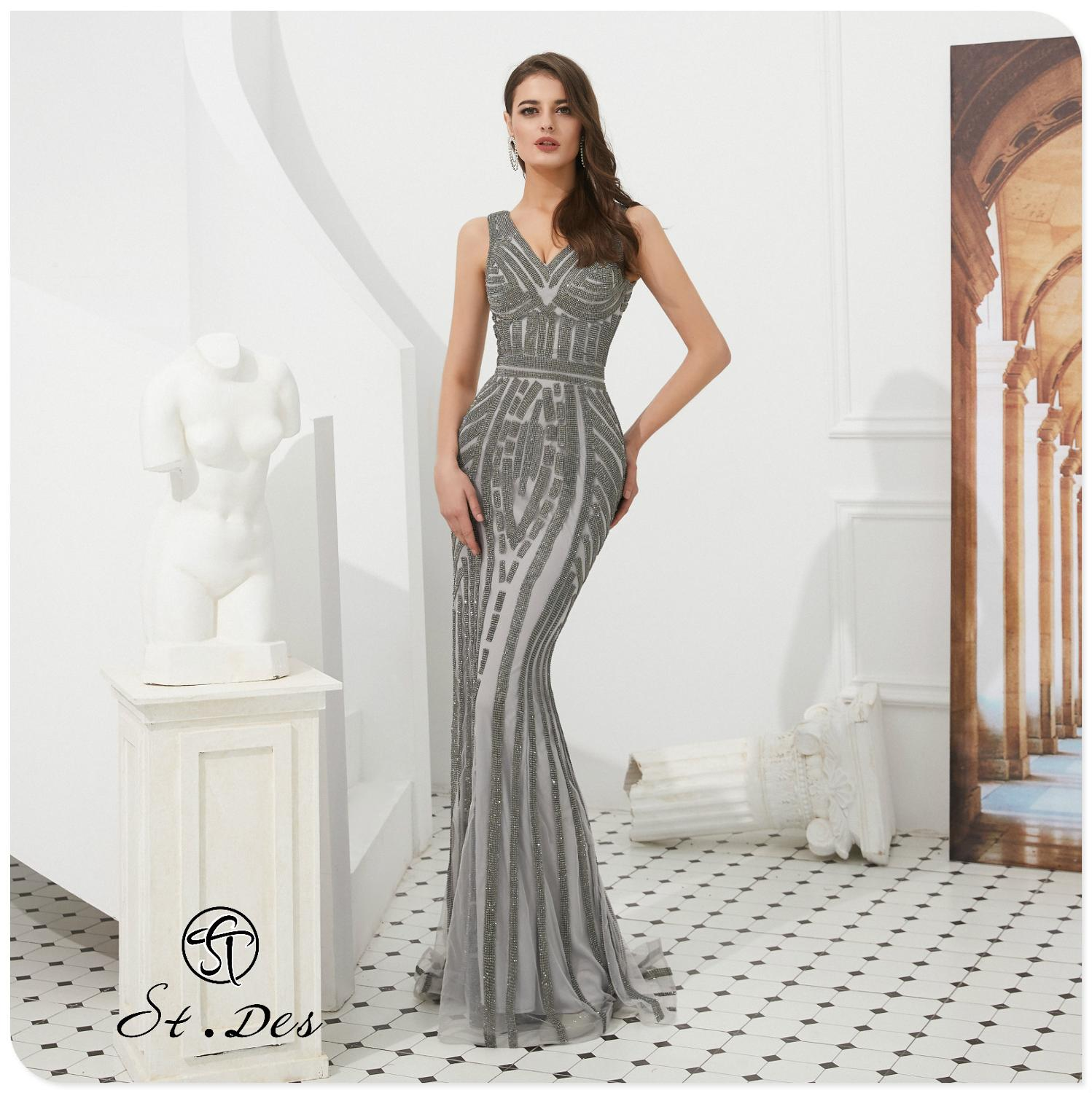 NEW 2020 St.Des Mermaid V-Neck Spaghetti Gray Beading Sleeveless Russian Floor Length Evening Dress Party Dress