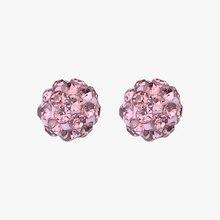 100% S925 Silver Zircon Bright Fashion Elegant Popular Earrings RedPink Crystal Ball Ear Nail Round 7MM