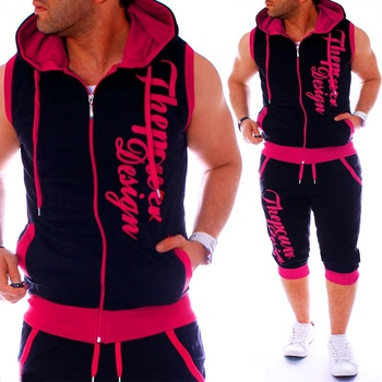 ZOGAA  Sweatsuits Casual Mens Jogger Set 2 Pieces Sleeveless Hoodies with Shorts Letter Printed Tracksuit for Men Clothing