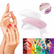 Nail Dryer Machine Nail LED Lamp Portable USB Home Use Nail Gel Varnish Dryer 6 Lamp Nail Dryer Gel 2 Colors Nail Art Tool cheap Wave Length 365nm + 405nm LED Lamps UV nail gel polish LED nail gel polish ABS plastic Rechargeable Battery White Pink