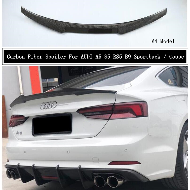 Carbon Fiber Spoiler For AUDI A5 S5 RS5 B9 2017 2018 2019 2020 2021 Wing Lip Spoilers High Quality M4 Car Accessories