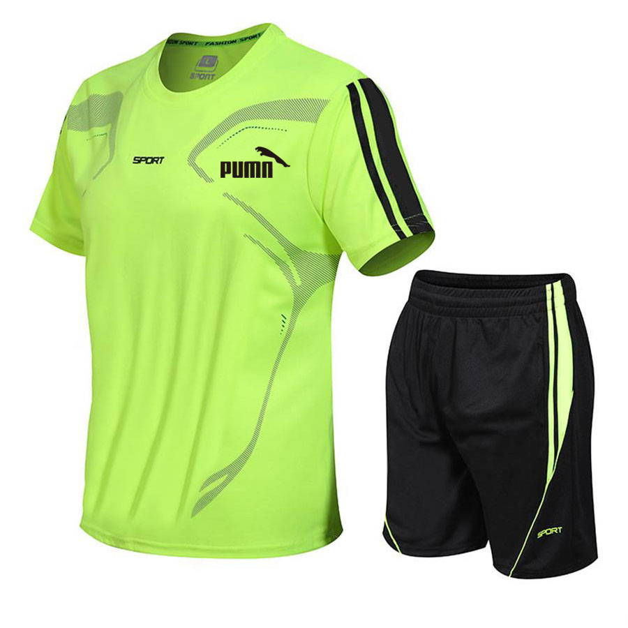 Brand men's sportswear suit short-sleeved sports shirt male running 2 piece suit football gym fitness man T-shirt + shorts set 6
