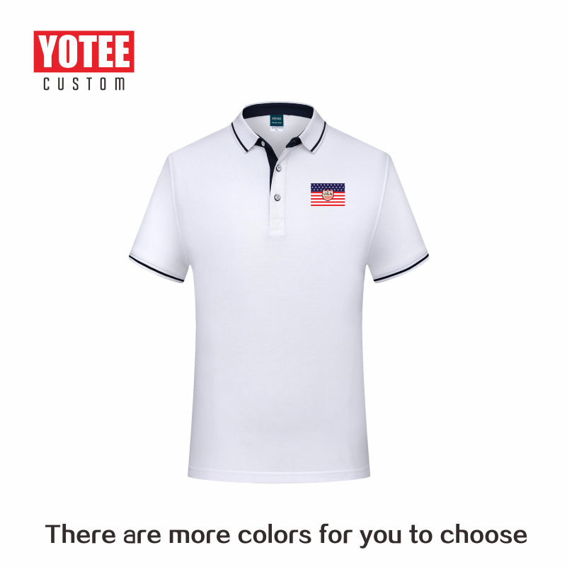 Casual Summer Short-sleeved Solid Color Cotton POLO Shirt Personal Company Group Uniform Custom Printed Design Photo LOGO