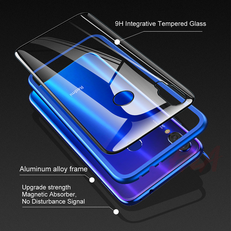 Image 5 - Metal Magnetic Adsorption Case For Redmi Note 7 6 5 Pro 6 6a Glass Case For Xiaomi 9 8 Lite 6X A2 Case Pocophone F1 Cover Case-in Phone Bumpers from Cellphones & Telecommunications