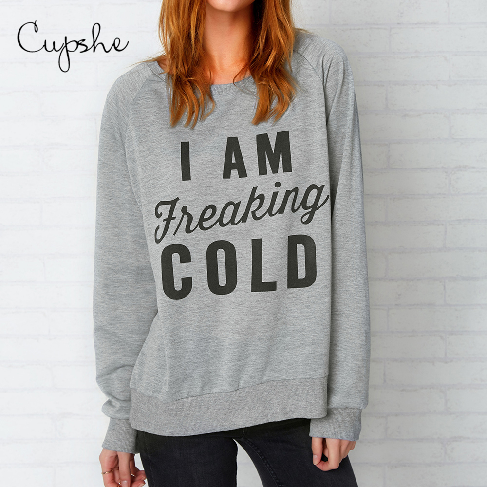CUPSHE Casual Freaking Cold Sweatshirt Letter Print Casual Top Autumn Round Neck Grey Cotton Harajuku Pullover Hoodies