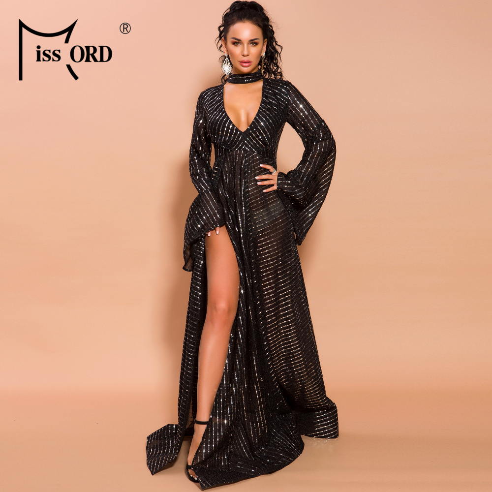 Missord 2020 Autumn And Winter Women Sexy Deep V Speaker Sleeve Sequin High Split Dresses Female Elegant Maxi Dress  FT19695