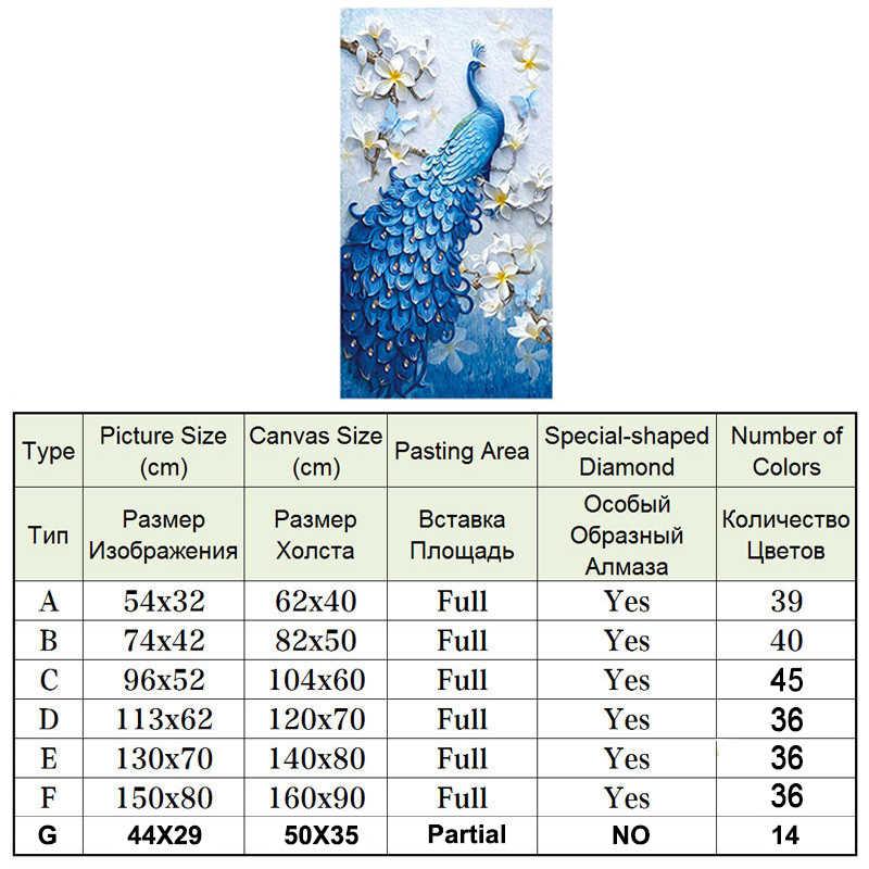 Meian DIY Lukisan Berlian Khusus Daimond Aksesoris Diamond Bordir, Binatang Merak, Penuh berlian Imitasi, 5D Diamond Mosaik, Dekorasi