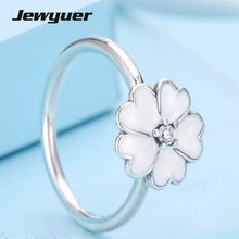 Spring Silver Primrose Ring with White Enamel 925 Sterling Silver Jewelry silver anillos wedding rings for women and men RIP012(China)