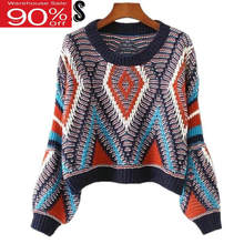 2020 Women Cropped Sweater O-neck Lantern Sleeves Knitted Pullovers Boho Aztec Jumper pull femme hiver(China)