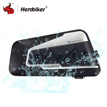 HEROBIKER Bluetooth Intercom Headset Motorcycle Helmet Wireless 1200M Waterproof