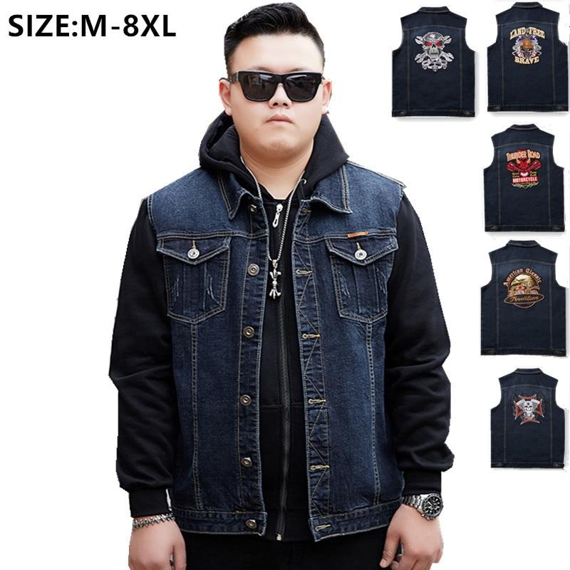 Denim Vest Men Skull Plus Size 6XL 7XL 8XL Big Mens Jeans Waistcoat Slim Fit Sleeveless Coat Cowboy Spring Autumn Clothes Jacket