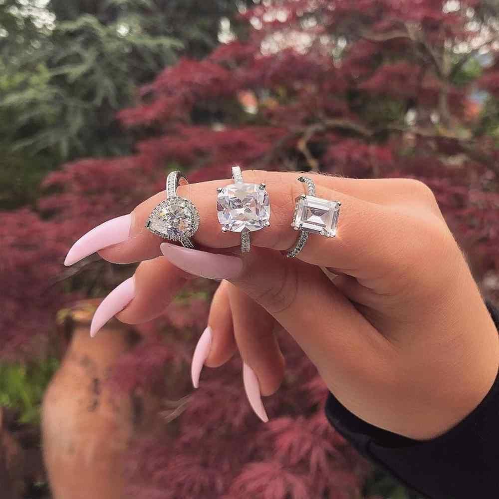 Anillo de compromiso de 40 estilos Plata de Ley 925 auténtica AAAAA Cz piedra declaración fiesta boda anillos para mujeres joyería de compromiso