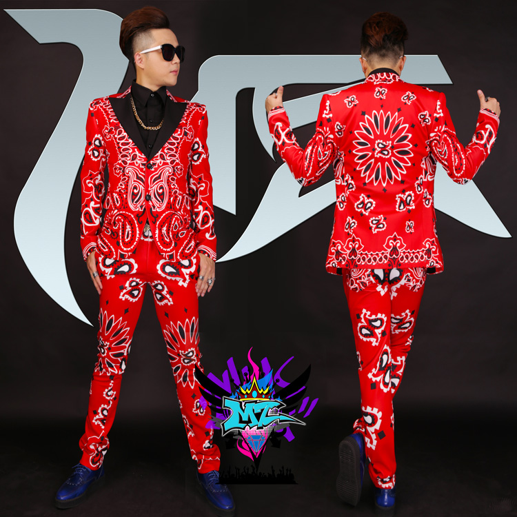 2020 New Male Singer Male DJ Party GD Red Cashew Flower Printing Black Collar Stretch Fashion Suit Costume Set (Blazer+Pants)