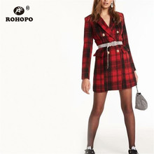 ROHOPO Double Breast Gold Metal Buttons Plaid Tartan Red Blend Coat Notched Collar Black Striped Vintage British Outwear #C506 red plaid tartan o ring wristband