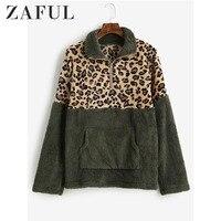 ZAFUL Leopard Print Kangaroo Pocket Faux Fur Sweatshirt Women Zip Front Pocket Long Sleeve Hoodies Patchwork Streetwear Winter