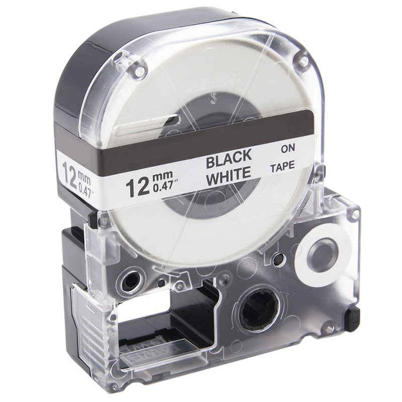 Label 12Mm Cassette Refills Compatible For Epson LabelWorks LC-4WBN9 For LW-300 LW-400 LW-500 LW-600P LW-700 Clear