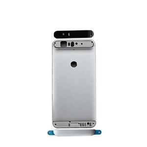 Image 5 - Para huawei google nexus 6 p bateria de volta capa traseira porta habitação + superior lente flash lente vidro substituição peças reparo