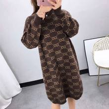 2021 Winter and Autumn Loose Pullover Letters Fashion, Women's Oversized Casual Pullover Long Sweater