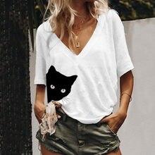 T-shirt col en v pour femmes blanc, imprimé demi-manches, pour l'été, nouveau décontracté