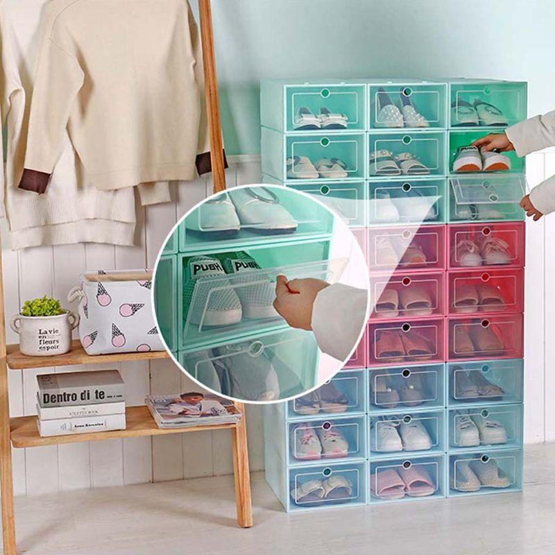 6 шт. пластиковая коробка для обуви Складная хорошо складируемая коробка для обуви Органайзер чехол для хранения ящиков с откидной прозрачной дверью для мужчин и женщин 33,5x23,5x13 смПолки и органайзеры для обуви   -