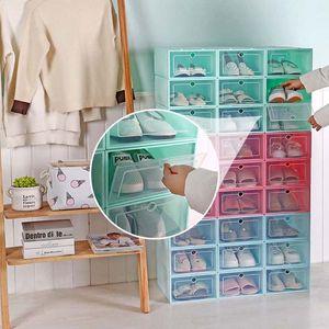 Image 1 - Caja de zapatos de plástico apilable y plegable, organizador de zapatos, cajón, caja de almacenamiento con puerta transparente abatible, 33,5x23,5x13cm, 6 uds.