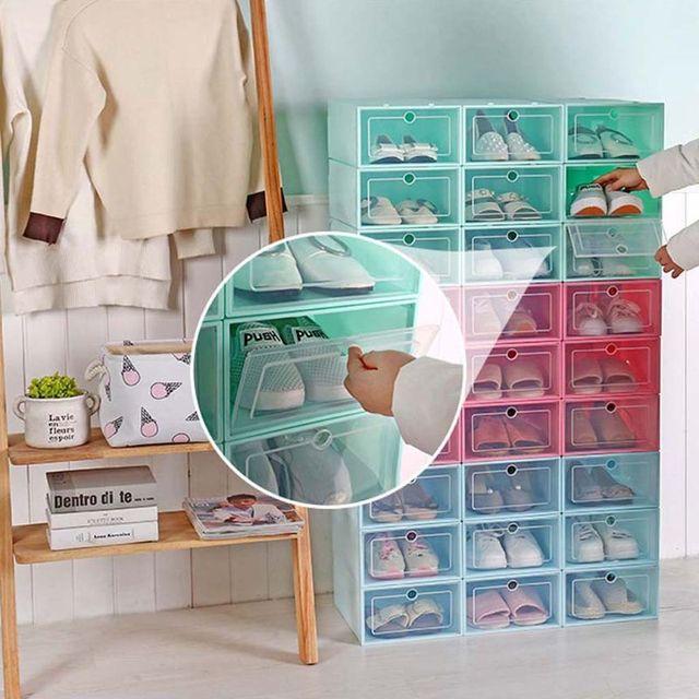 Caja de zapatos de plástico apilable y plegable, organizador de zapatos, cajón, caja de almacenamiento con puerta transparente abatible, 33,5x23,5x13cm, 6 uds.
