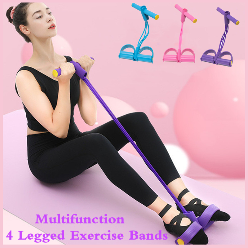 Fitness Crunches 4 Tube Resistance Bands Latex Pedal Exerciser Sit-up Pull Rope Expander Household Elastic Rope Yoga Equipment