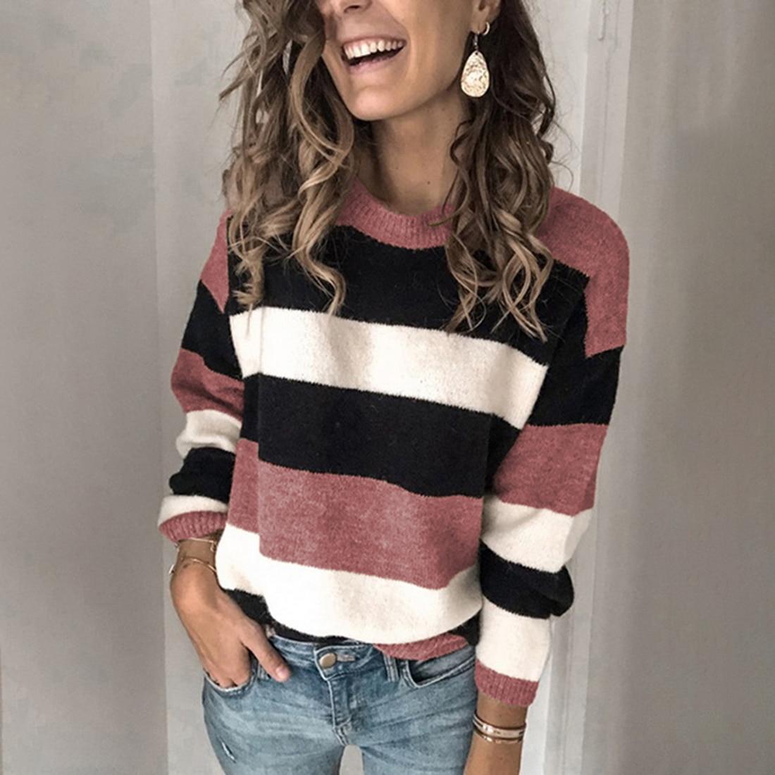 Женский свободный свитер в полоску, повседневный вязаный свитер, Осень-зима 2020