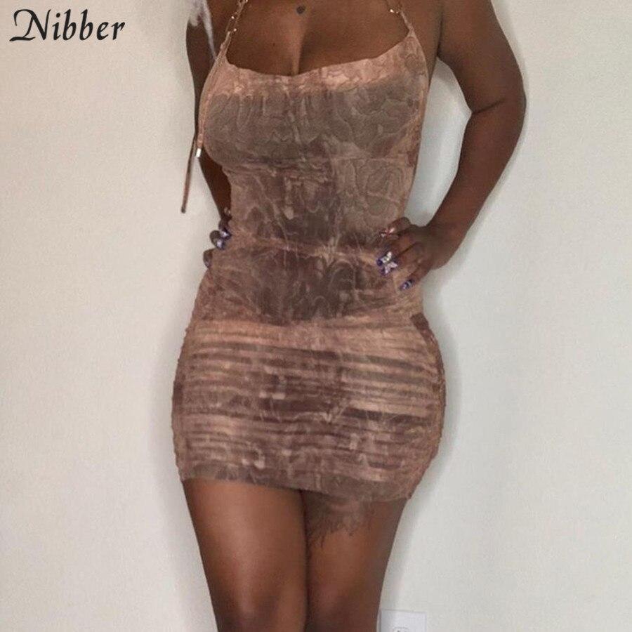 Nibber Sexy Elegante In Metallo Sling Abiti Per Le Donne 2020 Autunno Inverno Club Usura Del Partito Di Notte Senza Maniche Aderente Mini Vestito Femminile
