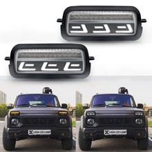 2x Car Styling LED Headlight Side Marker Light turn signal light for Lada Niva 4x4 1995 Amber Daytime Running Lights(China)