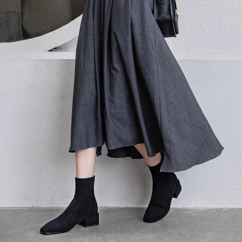 Donna-in süet ayak bileği kadın botları yüksek topuklu hakiki deri rahat streç çizmeler üzerinde kayma zarif ayakkabı kadın 2019 yeni Botas