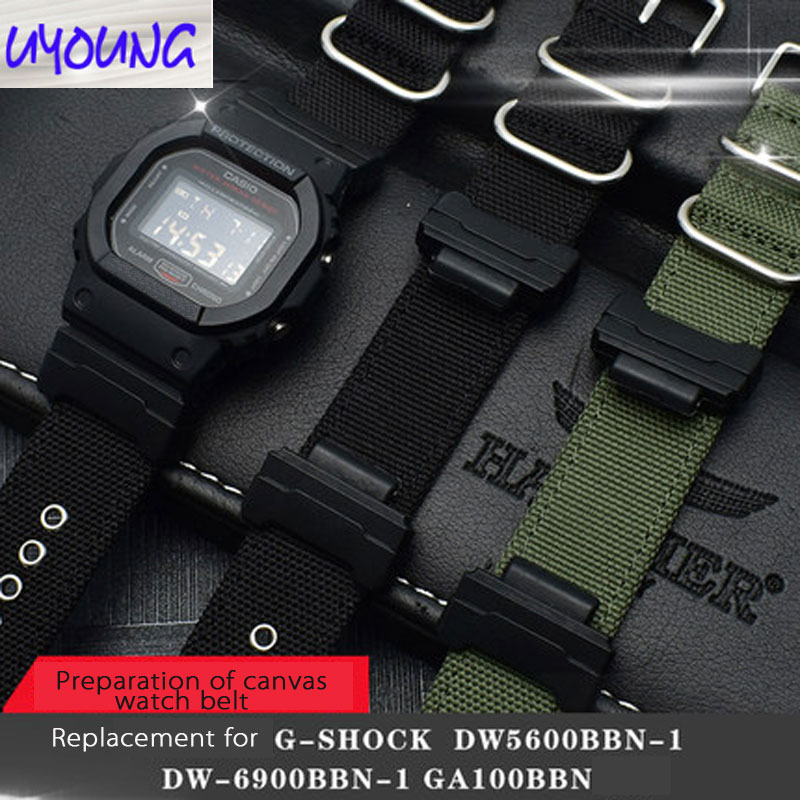 Classic black canvas watch FOR cso G-SHOCK <font><b>DW</b></font>-<font><b>5600</b></font> DW6900 DW5035 Watch <font><b>strap</b></font> band 16mm image