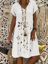 Casual Floral Printed V-neck Short Sleeve Midi Dress KZ017