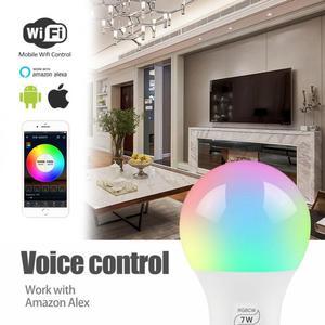 Image 3 - 7W Smart WiFi Light Bulb E27/B22/E14/GU10 RGBW Dimmable Wireless WiFi Remote Control Bulb Lamp Light For Echo Alexa Google Home
