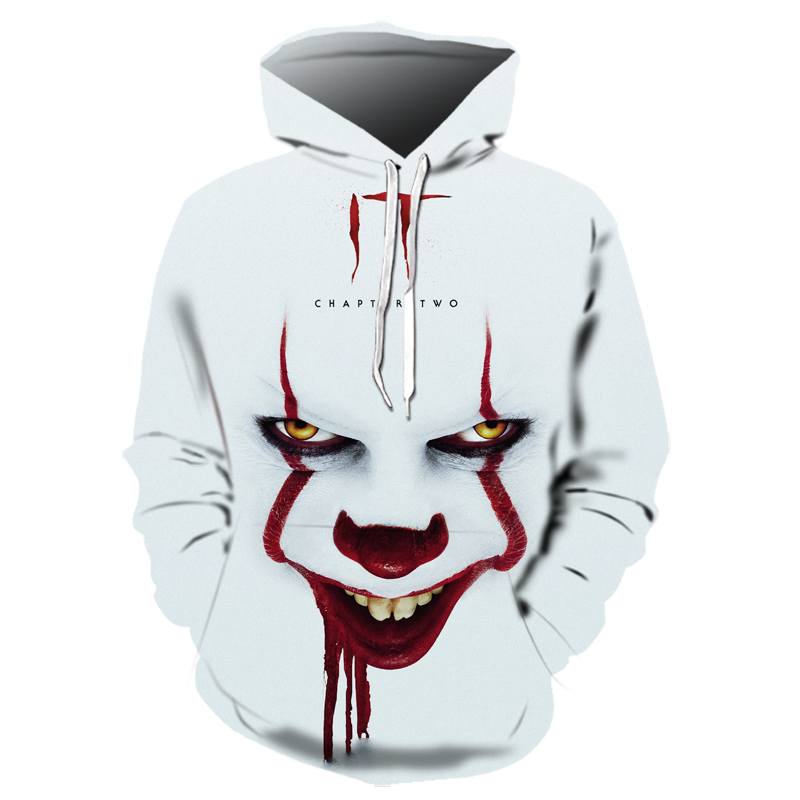 Hot Horror Movie IT Chapter Two 3D Print Hooded Sweatshirts Men Women Fashion Casual Pullover IT Clown Print Pattern Hoodies