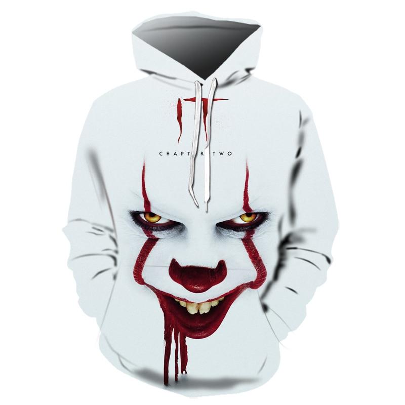 Hot Horror Movie IT Chapter Two 3D Print Hooded Sweatshirts Men Women Fashion Casual Pullover IT Clown Print Pattern Hoodies
