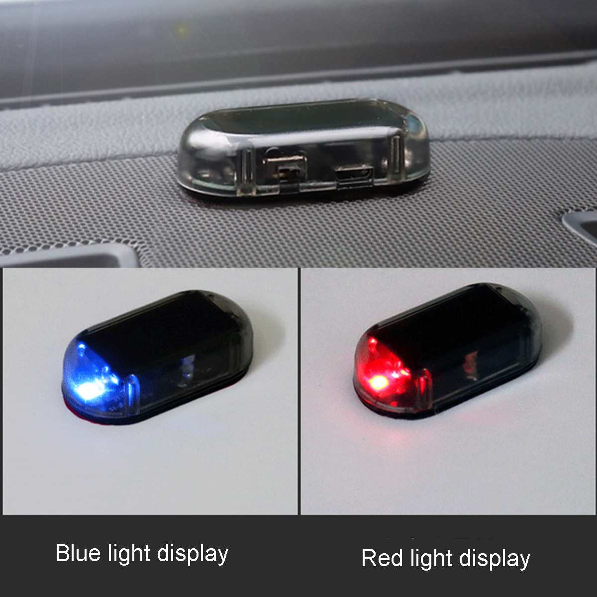 1 Pair Of Car Solar LED Warning Flash Light Analog Alarm Anti-theft Lighting System Safety Light